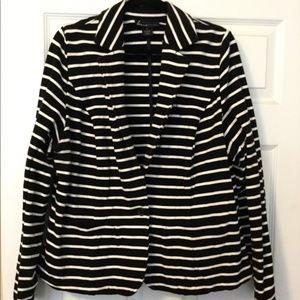 Black White Striped Lane Bryant 20 Stretchy Blazer